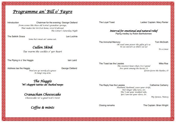 Burns Night 2018 Programme (click on it for larger version)